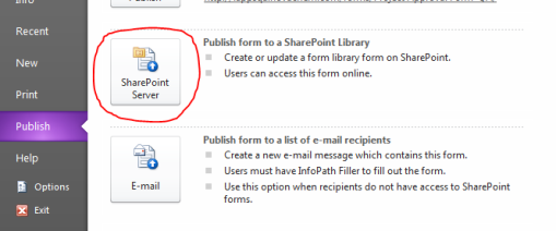 Publish to SharePoint Server Button